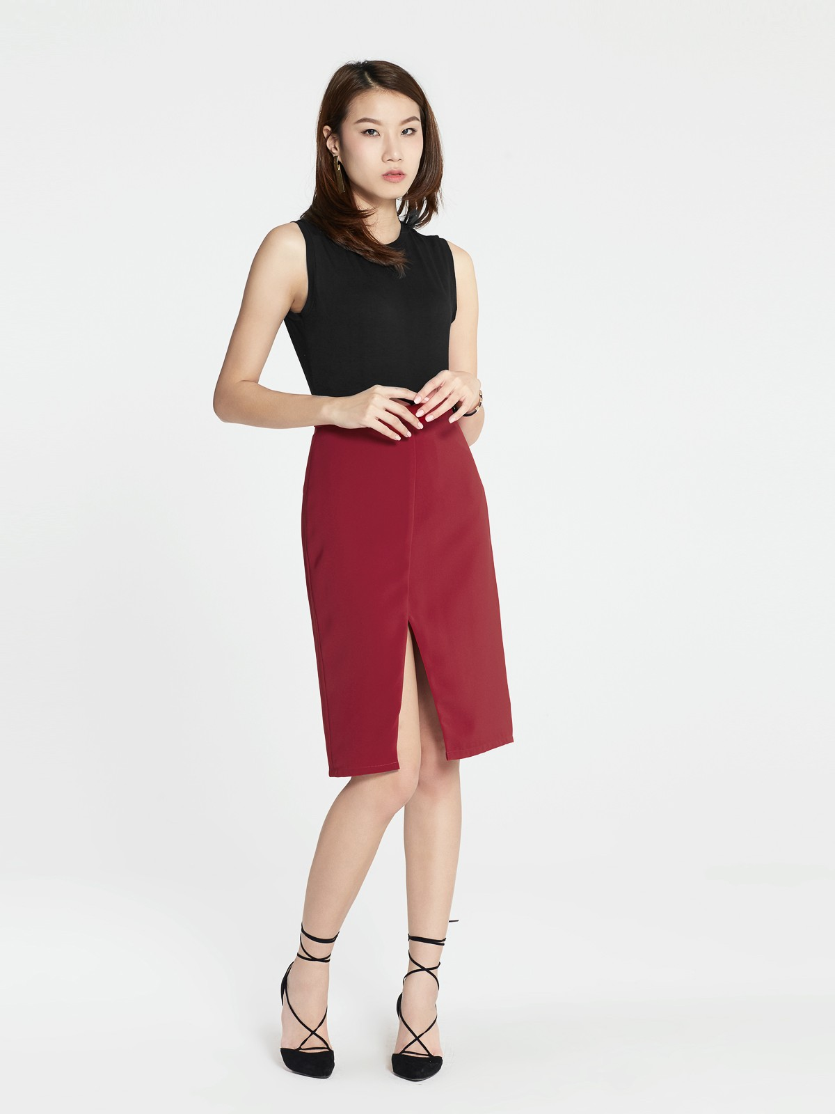 1f17d890bbd Trista Cutout Skirt - Red - Pomelo Fashion