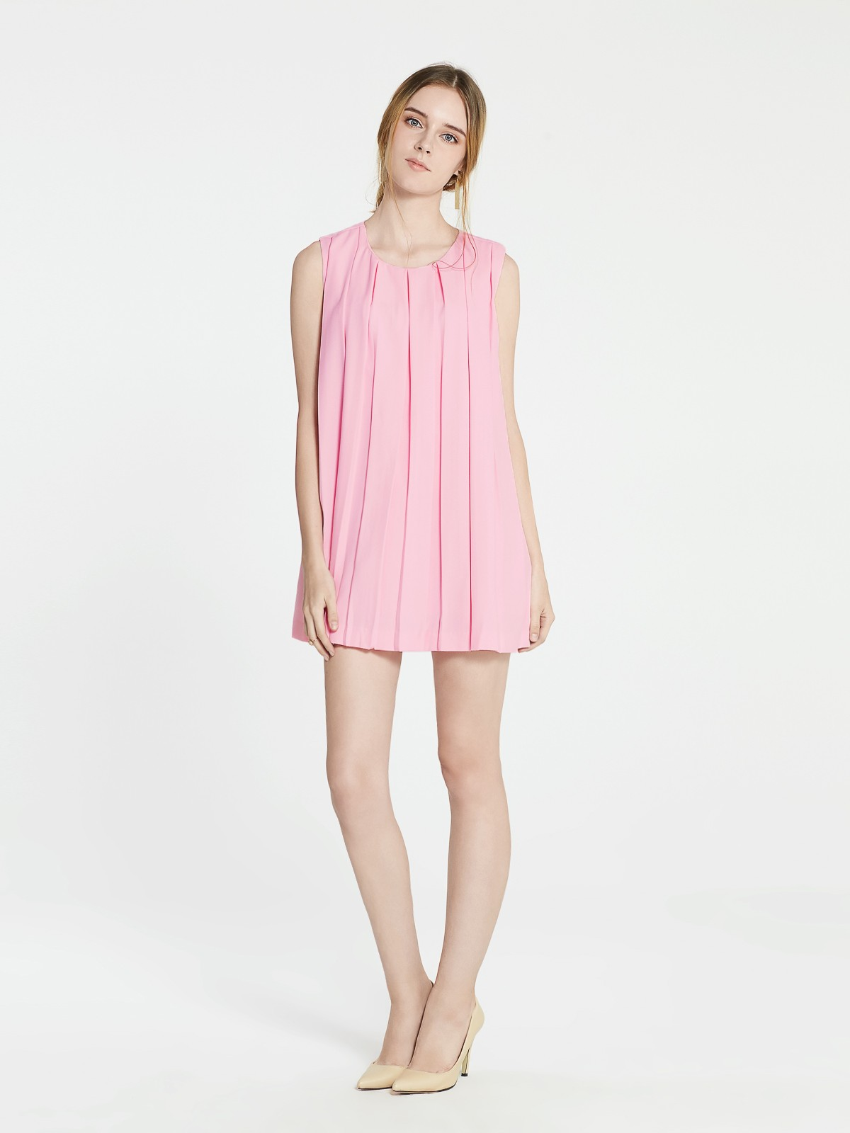 3ed784e701 Ella Pleated Shift Dress, Pink - Pomelo Fashion