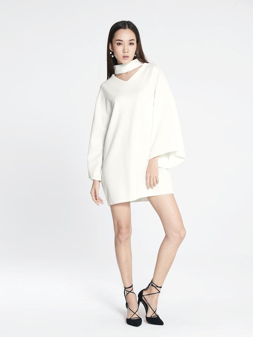 fe4a3edd27aa Zella Loose Choker Dress - White - Pomelo Fashion