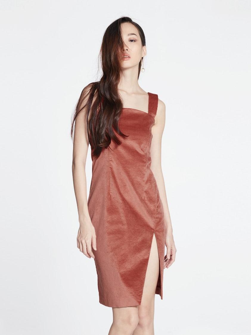 89ed41b0f112 Cerys Velvet Slit Dress - Burnt Orange - Pomelo Fashion
