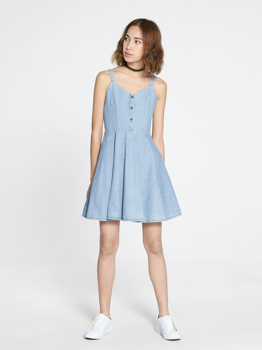 a3081cb31191 Sullivan Denim Skater Dress - Light Blue - Pomelo Fashion