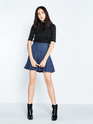 arrives choose authentic special for shoe Sicily Fit And Flare Denim Mini Skirt - Pomelo Fashion