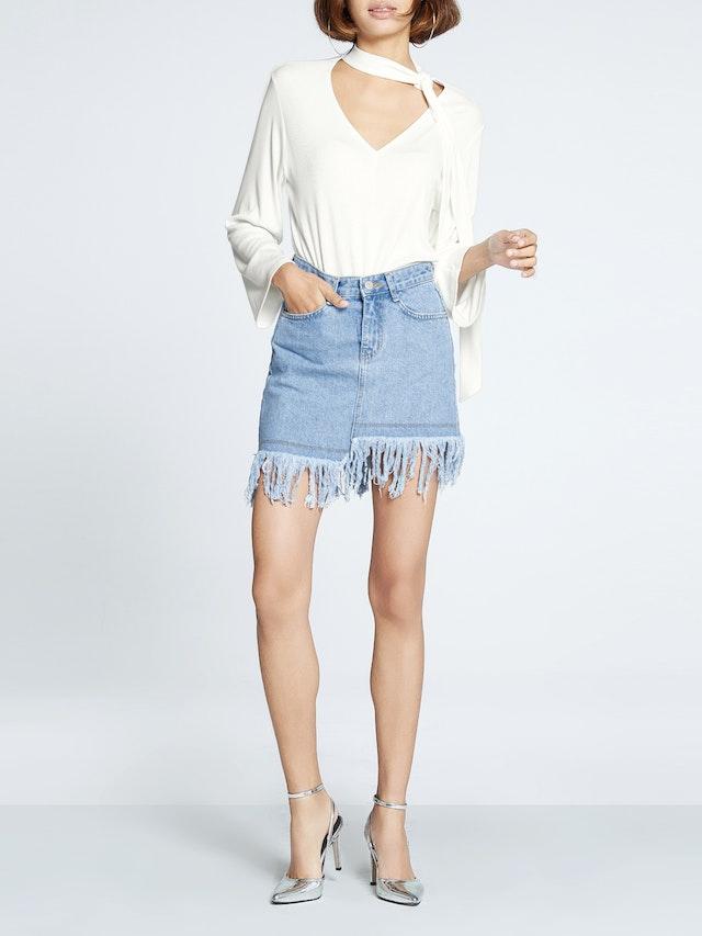 f0ae44e611 Bronte Asymmetrical Frayed Hem Denim Skirt - Pomelo Fashion