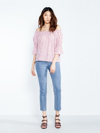 608994d4be624b Bree Striped Off Shoulder Top - Pink - Pomelo Fashion