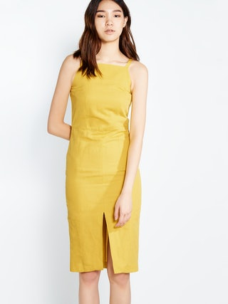 ca80cc6c25 Blair FItted Linen Midi Dress - Pomelo Fashion