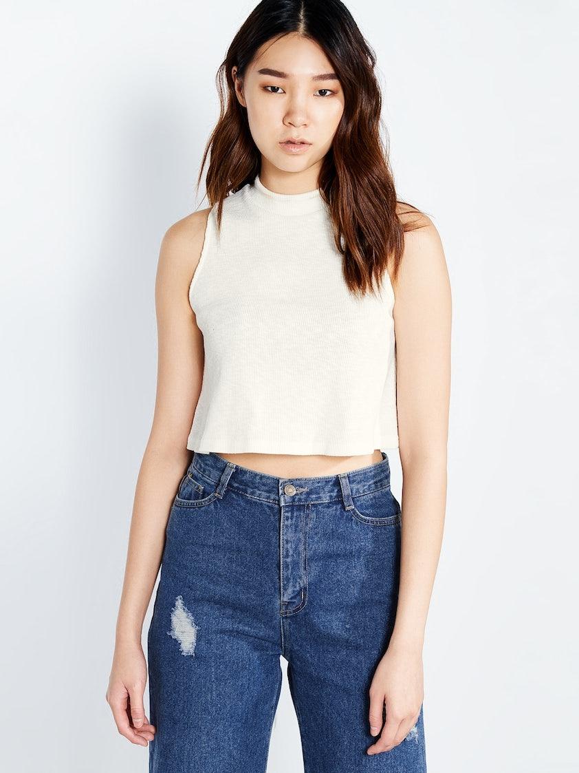 4ca47a2ec19 Leeta High Neck Crop Top - White - Pomelo Fashion