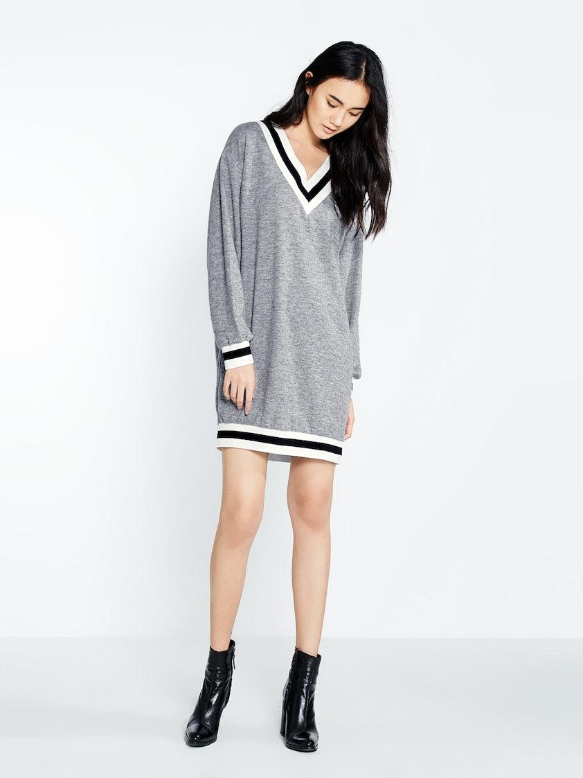 8ab4d0f4f01 Lanny V-Neck Varsity Sweater Dress - Pomelo Fashion