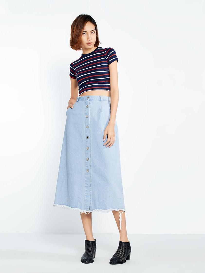 3b9be1bfed Maddie Frayed Denim Midi Skirt - Pomelo Fashion