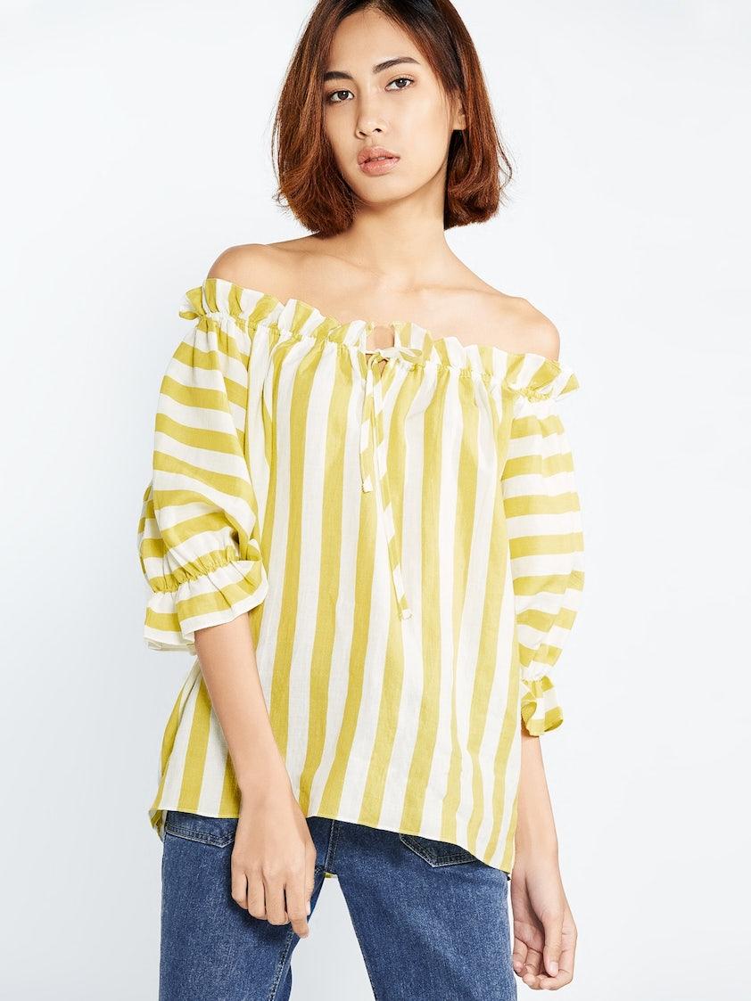 a21e3fe7dc9590 Kris Linen Striped Off Shoulder Top - Yellow - Pomelo Fashion