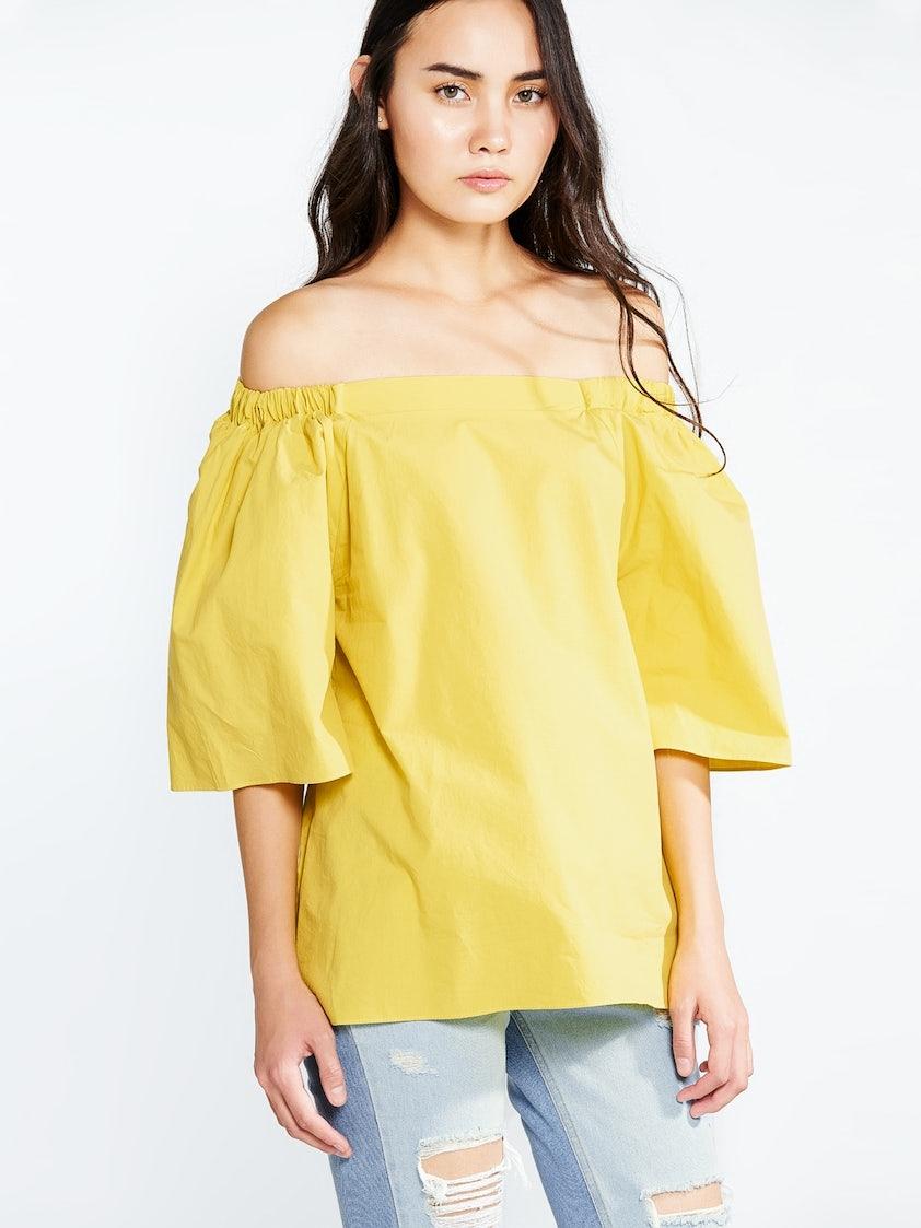 8c0d5477008f Teegan Off Shoulder Shirt - Yellow - Pomelo Fashion