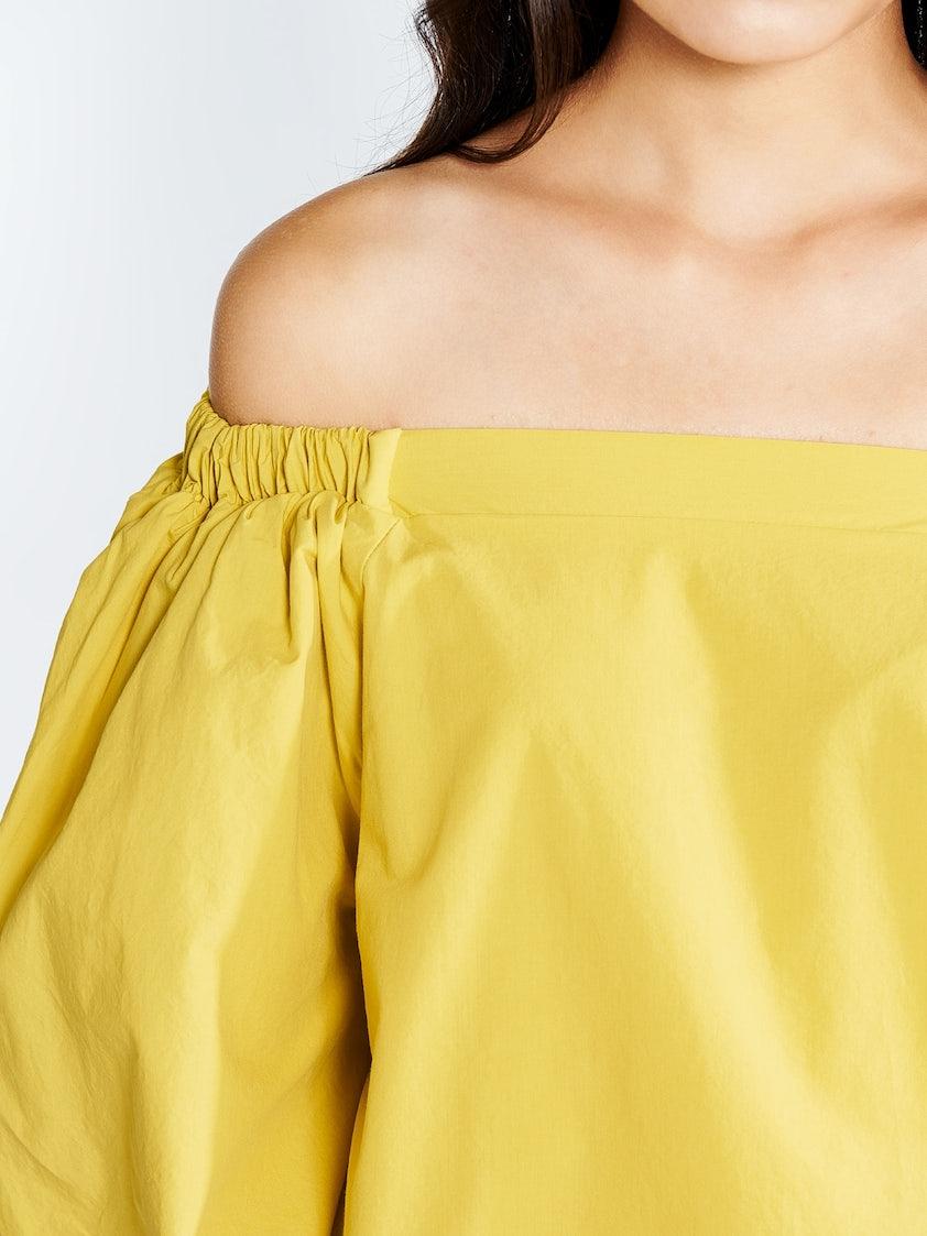 1c041f88d876d8 Teegan Off Shoulder Shirt - Yellow - Pomelo Fashion