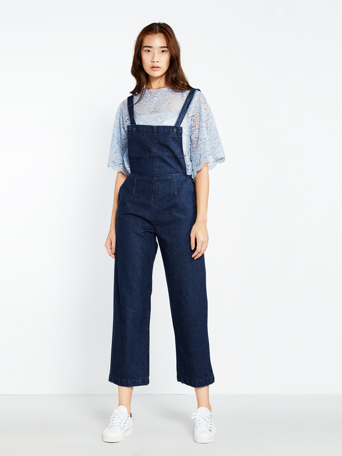 84663ca3312 Margaret Pinafore Denim Jumpsuit - Pomelo Fashion