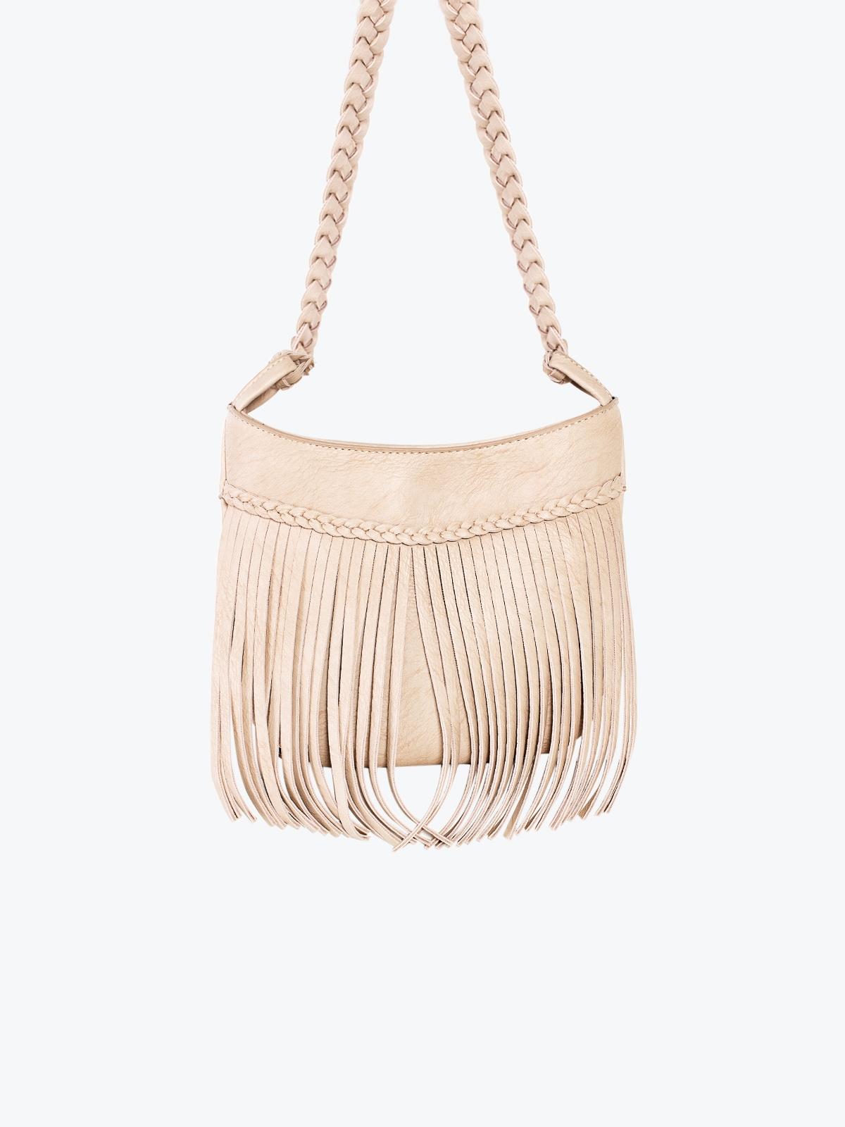 Fringe Braided Leather Shoulder Bag