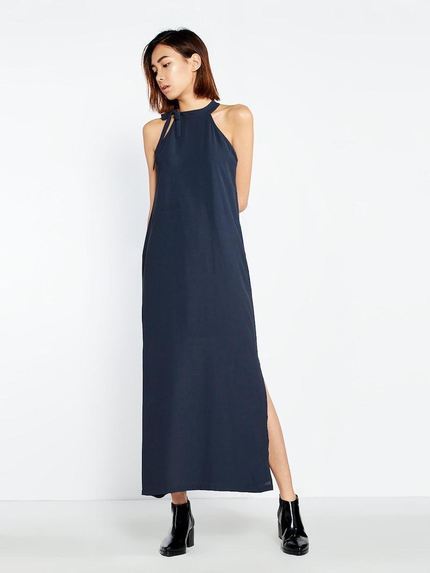 d91e517e1cc Aletta Slit Maxi Dress - Navy - Pomelo Fashion
