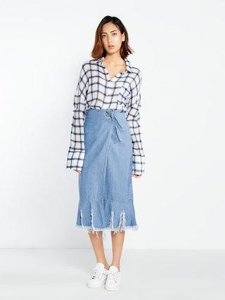 92f020418a Miyako Denim Wrap Midi Skirt - Pomelo Fashion