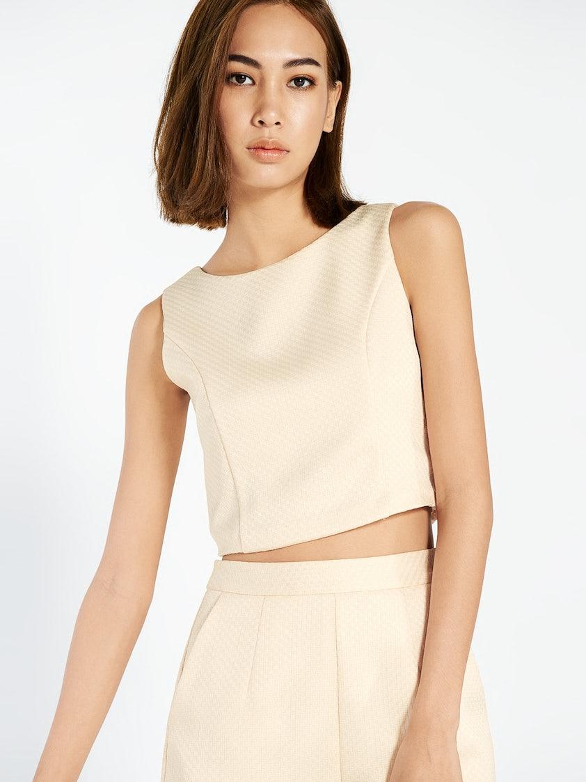6c230ee915b46 Verde Sleeveless Crop Top - Cream - Pomelo Fashion