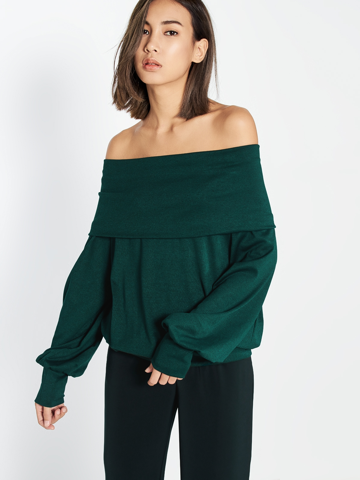 Blaire Off Shoulder Sweater - Green - Pomelo Singapore