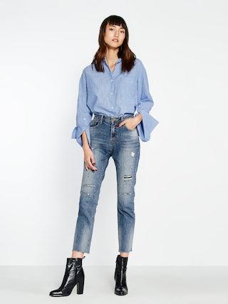 89de852aa67 Prema Distressed Raw Hem Jeans - Pomelo Fashion