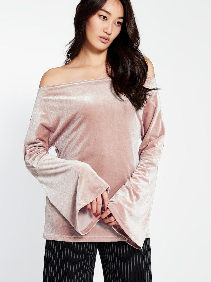 ca6ca3ec107 Delfine Velvet Off Shoulder Top - Pink - Pomelo Fashion