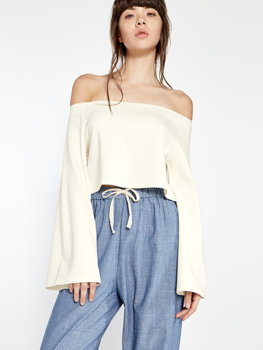 30f9d01f7d71e Aden Bell Sleeve Off Shoulder Top - White - Pomelo Fashion
