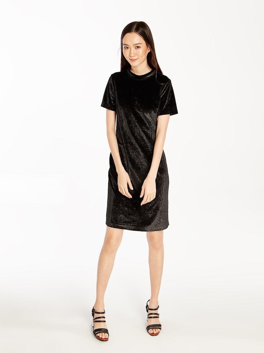 600fbc13e2113 Marisa Velvet Glitter Dress - Black - Pomelo Fashion