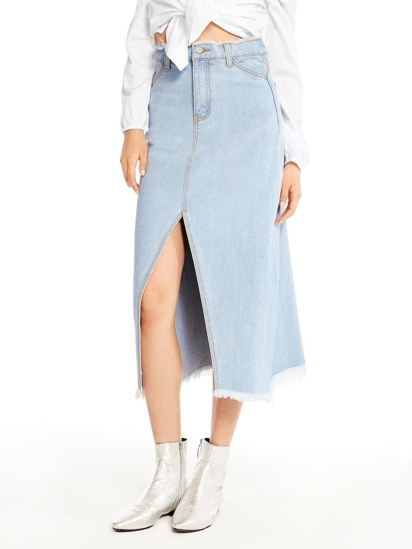 1fe45a2176 Rhea Front Slit Denim Skirt - Pomelo Fashion