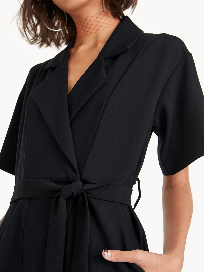 122696f651a4 Arden Short Sleeve Jumpsuit - Black - Pomelo Fashion