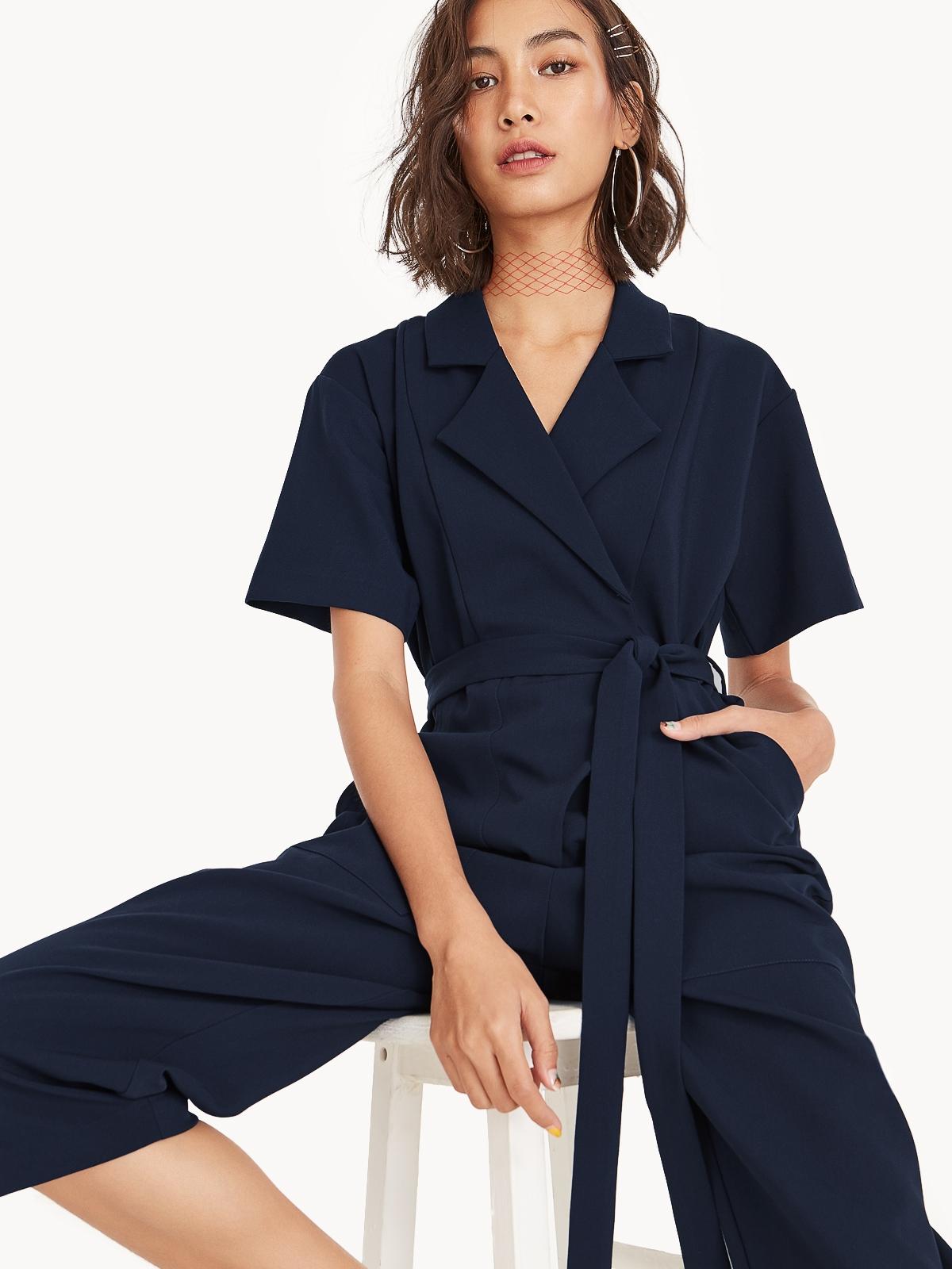 03942dfc718 Arden Short Sleeve Jumpsuit - Navy - Pomelo Fashion