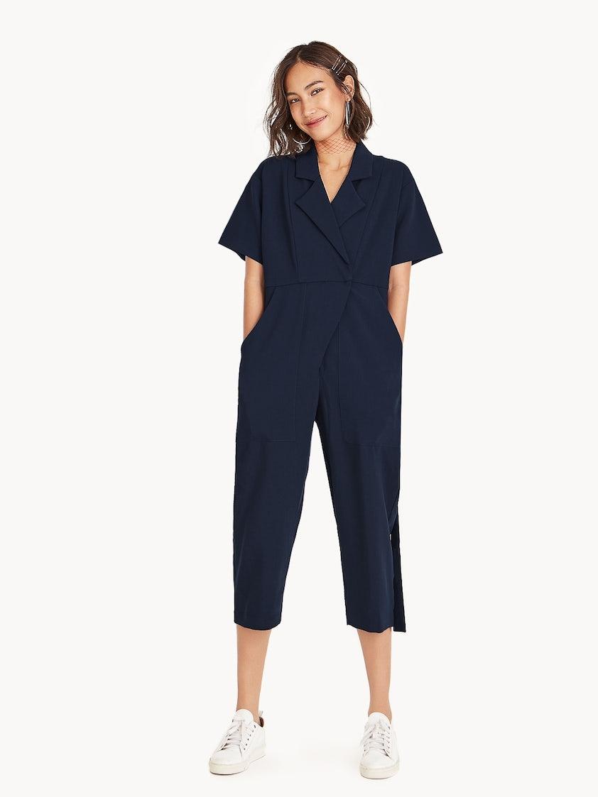 348957601128 Arden Short Sleeve Jumpsuit - Navy - Pomelo Fashion