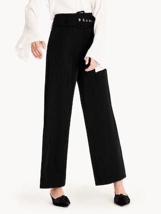 11535ef0b7ea Korra Belted Wide Leg Pants - Black - Pomelo Fashion