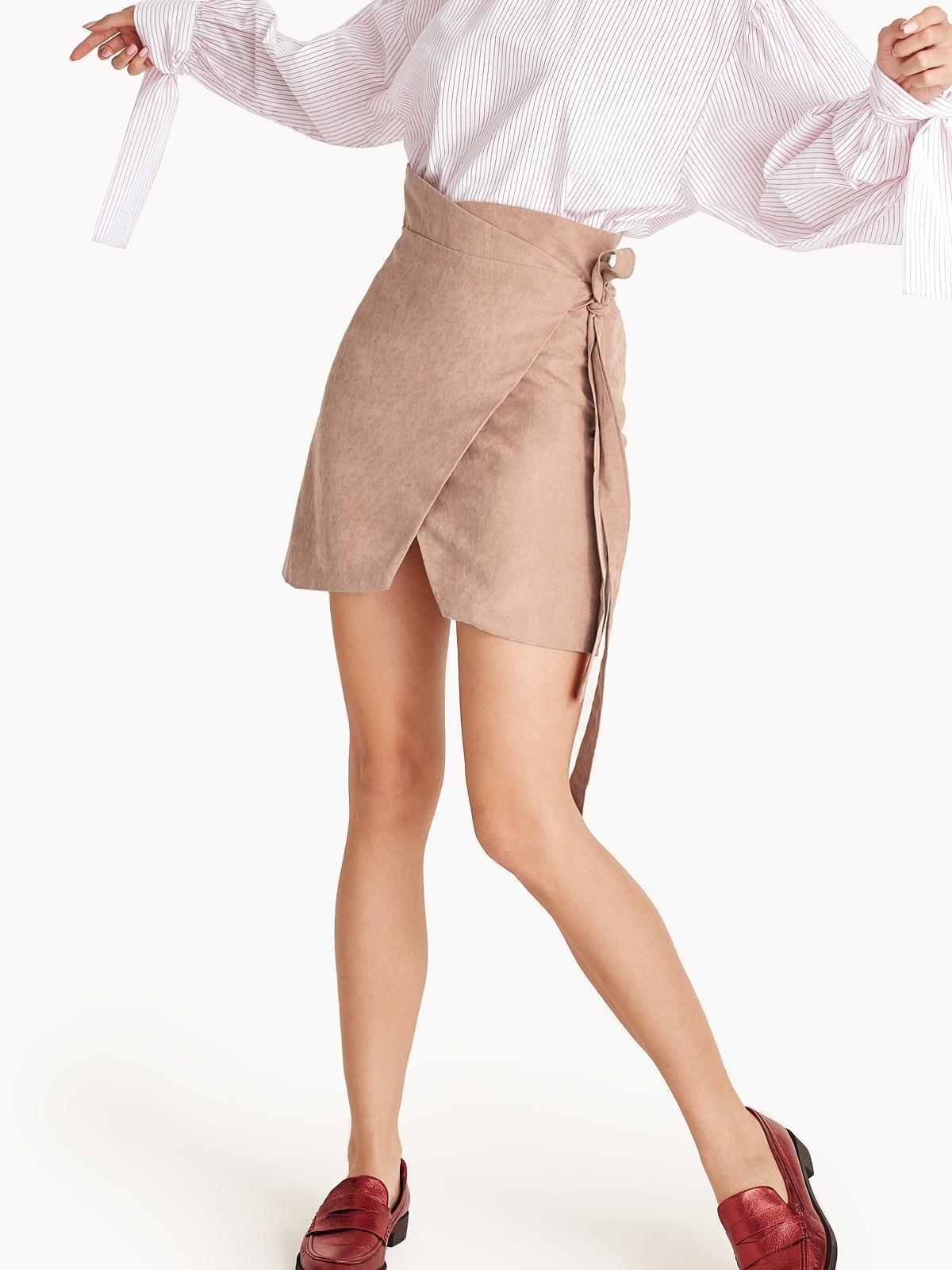 7586badad043 Devin Mini Faux Suede Wrap Skirt - Pomelo Fashion