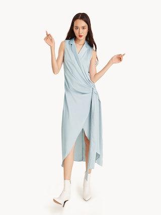 839d193bc8e Clarisse Maxi Satin Wrap Dress - Pomelo Fashion