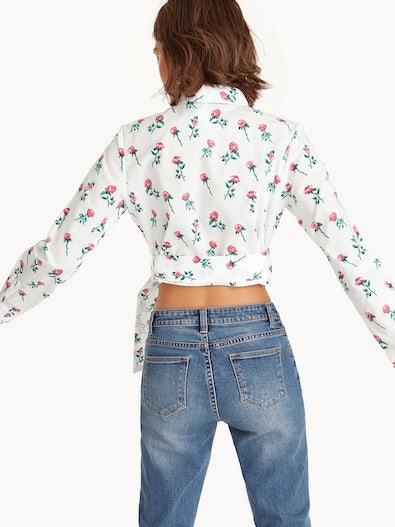 09866cc5738ca7 Belted Button Down Crop Shirt - Floral