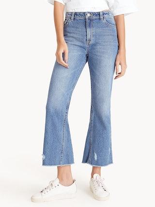 a93b24aa443 Distressed Bootcut Raw Hem Jeans - Pomelo Fashion