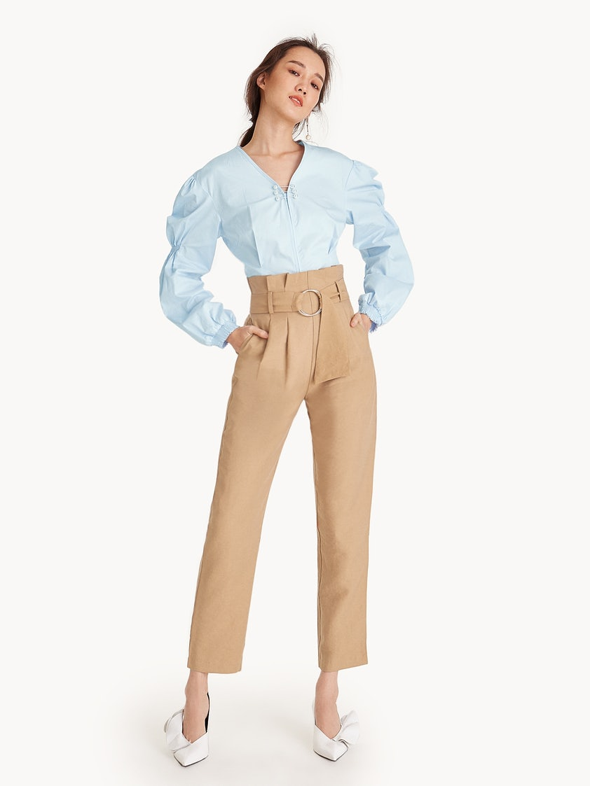 0a2f9459618e69 Paperbag Waist Metal Ring Belt Trousers - Cream - Pomelo Fashion