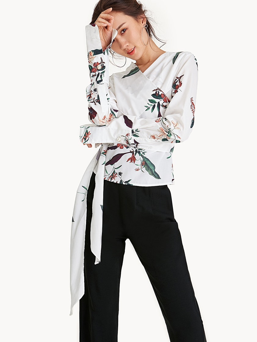 03b431361cb404 Satin Pearl Accent V Neck Wrap Blouse - Floral - Pomelo Fashion