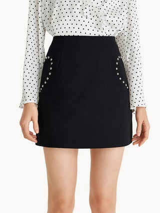 d972228ff Mini Heart Studded A-Line Skirt - Black - Pomelo Fashion