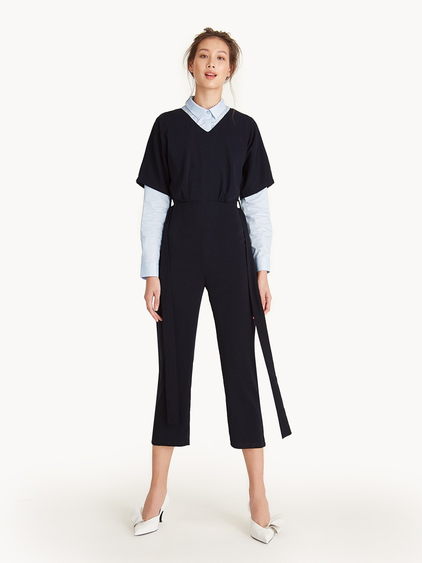 99b9e5bf2bb V-Neck Tie Waist Capri Jumpsuit - Navy - Pomelo Fashion