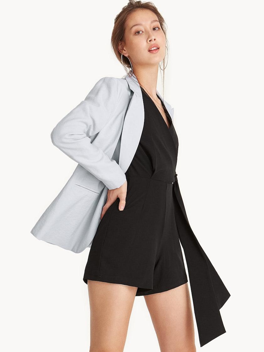 e2c04ad7794 Side Tie Tiered Sleeve Surplice Romper - Black - Pomelo Fashion