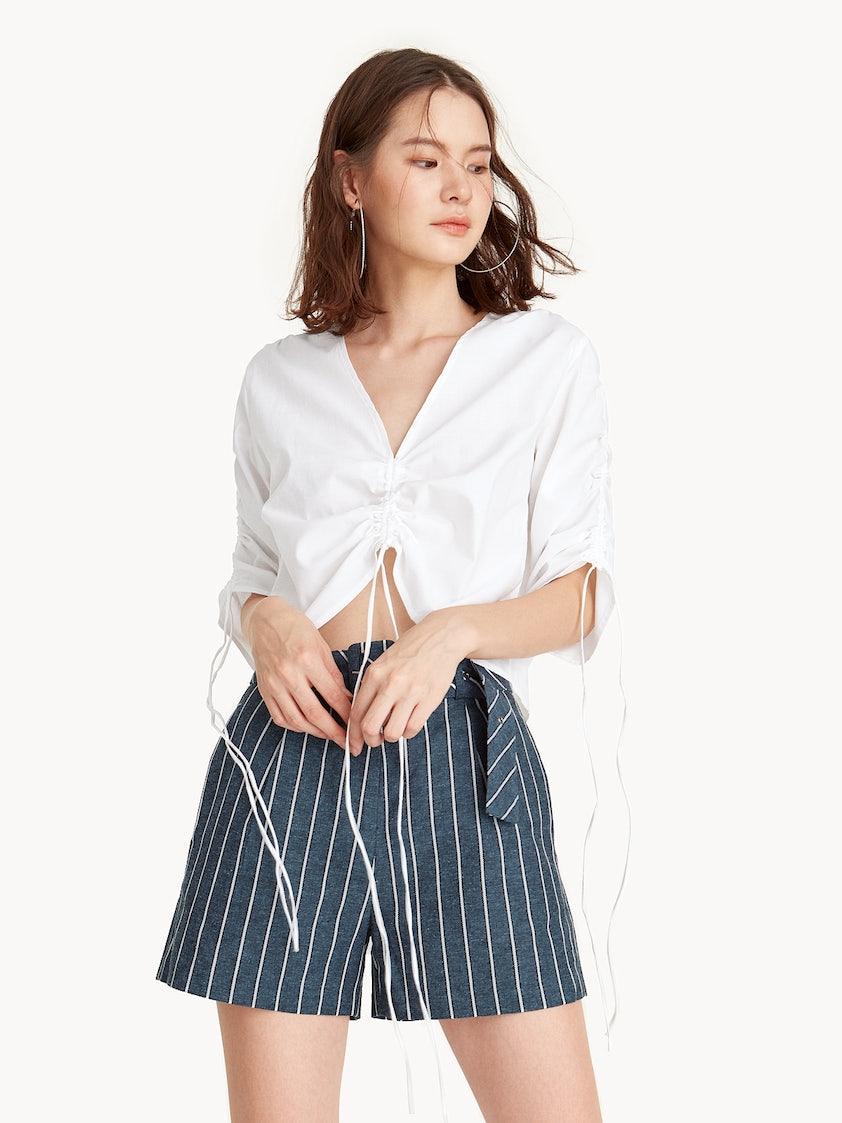daf7c79c331 Semi Sheer V-Neck Ruched Crop Top - White - Pomelo Fashion