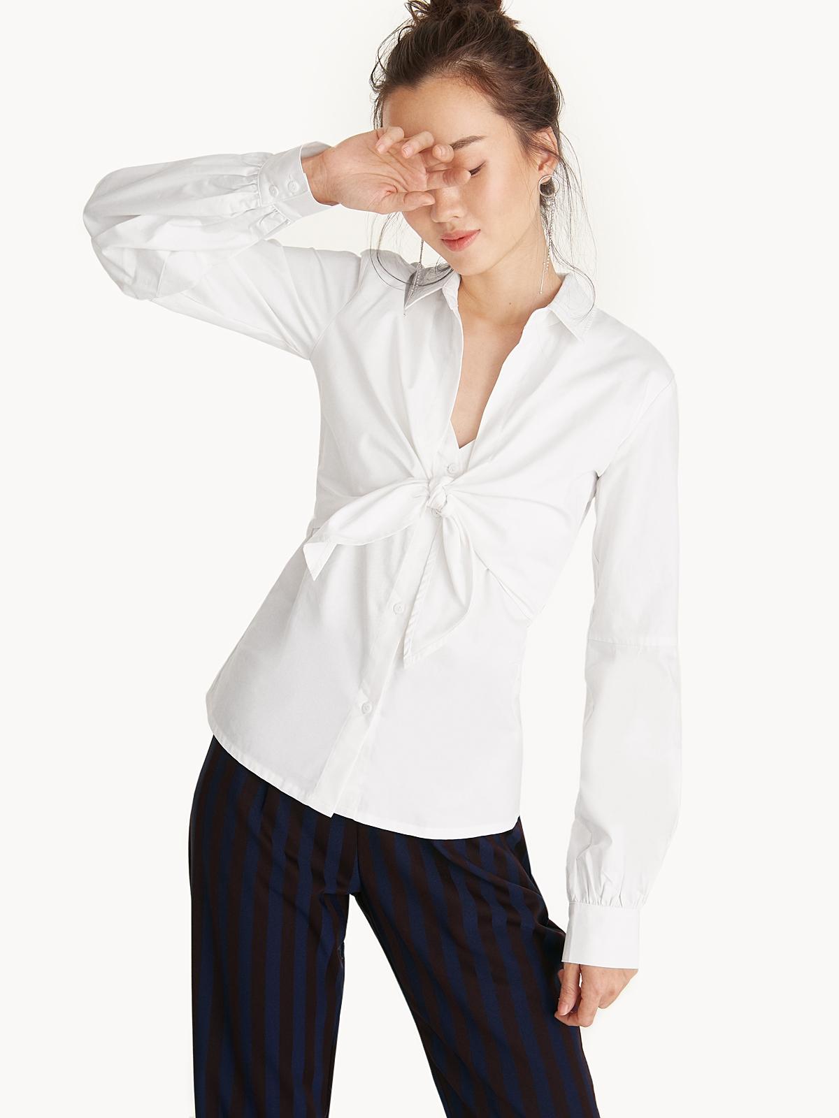 7e3e93af0 Front Knot Balloon Sleeve Button Down Shirt - Pomelo