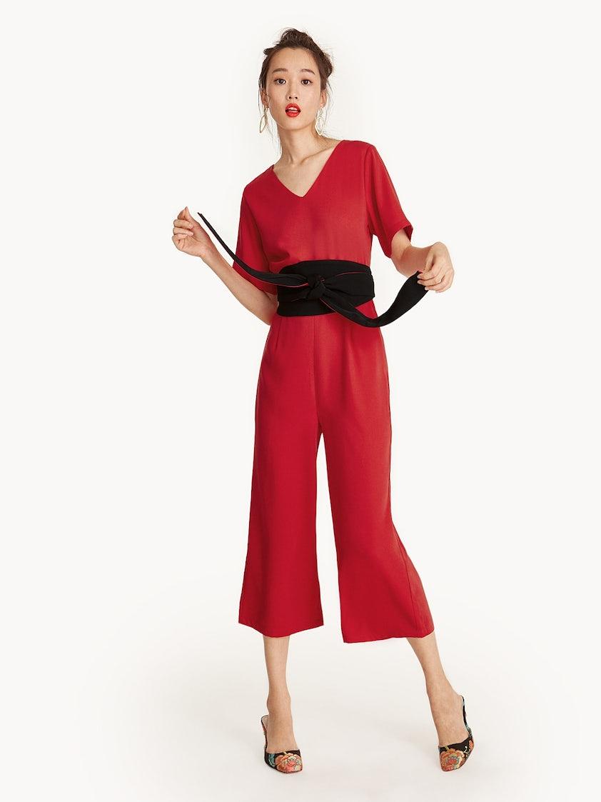 9ceca4d65ec Tie Waist V-Neck Cropped Jumpsuit - Pomelo Fashion