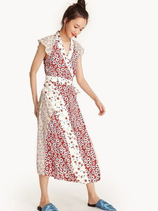 d4689ed2ed8 Midi Cap Sleeve Satin Wrap Dress - Floral - Pomelo Fashion
