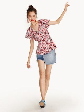 568e29ff4b5 Tiered Sleeve Floral Peplum Wrap Top - Pomelo Fashion