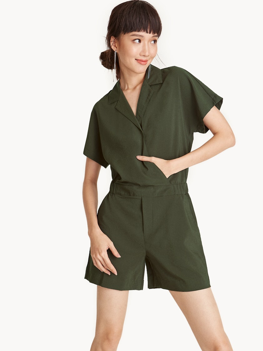 0bd4acd2d2a Collared Surplice Shirt Romper - Pomelo Fashion
