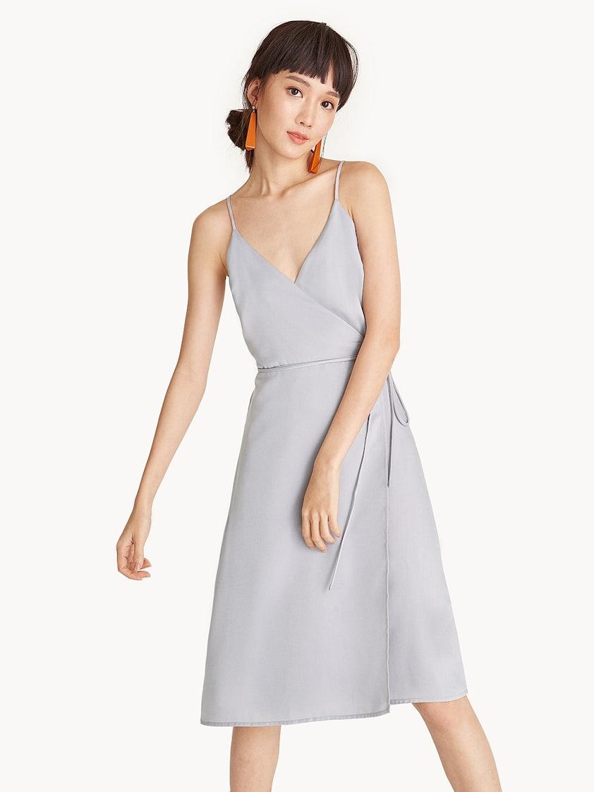 66e76913b1c8 Midi Cami Satin Wrap Dress - Pomelo Fashion