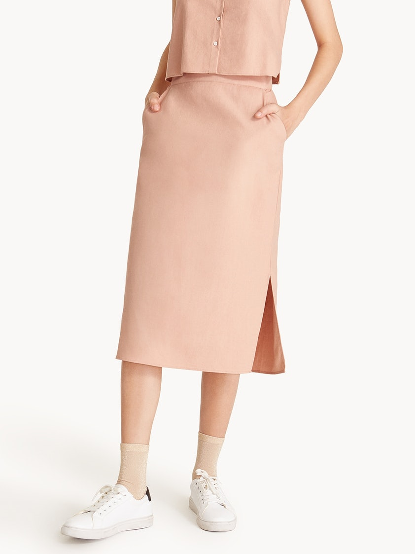 6b315baae153 Linen High Waisted Side Slit Pencil Skirt - Pomelo Fashion