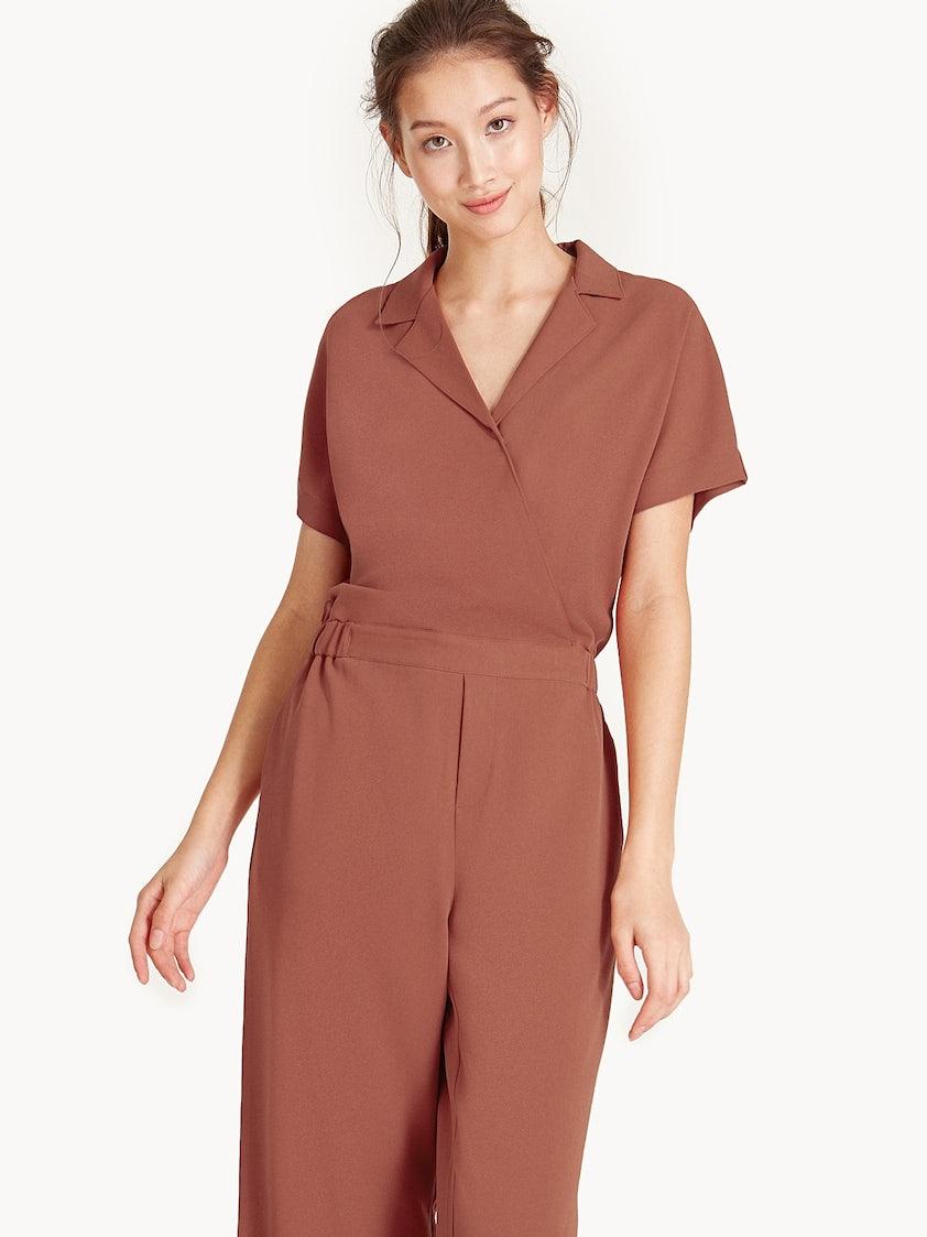 497cf794ec Classic Shirt Jumpsuit - Brown - Pomelo Fashion