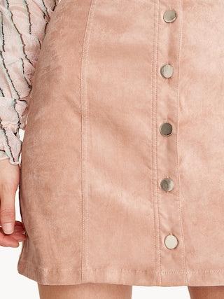9b2be169351c Mini Suede Button Down Skirt - Pink - Pomelo Fashion