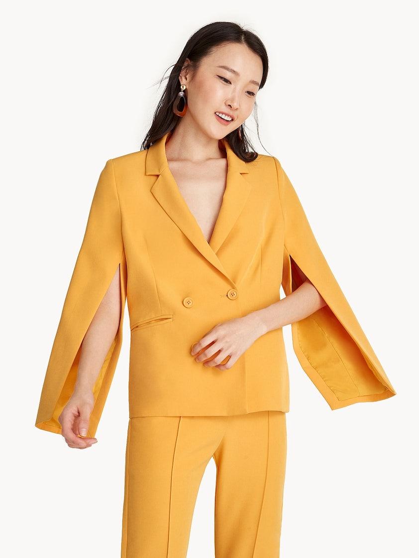 f9c5137067b0 Double Breasted Cape Blazer - Yellow - Pomelo Fashion